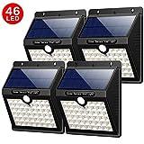 Yacikos Solarleuchten Außen 46 LED Solarlampen für Außen mit Bewegungsmelder Solar Beleuchtung Wasserdichte Wandleuchte Solarlicht Aussen 1800mAh mit 3 Modi für Garten, Wände [4 Stück]