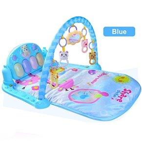 Juguetes del Bebé del Piano,GZQES, Juguetes con Sonido para Bebé, Juguetes de la Música del Gimnasio Piano,Alfombra de Entretenimiento para Bebé 0-36 Edad (Azul)