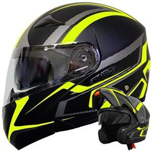 Klapphelm Integralhelm Helm Motorradhelm RALLOX 109 schwarz neon gelb grün matt mit Sonnenblende (S, M, L, XL) 5