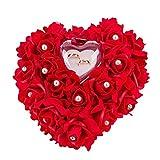 Mystery&Melody Cuscino a forma di cuore romantico bianco con cuscino a forma di anello di nozze doro Cuscino con elegante anello di raso cuscino floreale (Red)