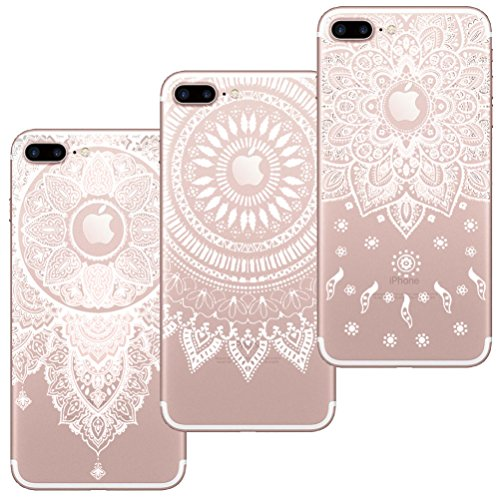 [3 Stück] iPhone 7 Plus Hülle, iPhone 8 Plus Hülle, Blossom01 Cute Funny Kreative Cartoon Transparent Silikon Bumper für iPhone 7 Plus / 8 Plus - 3 * Mandala