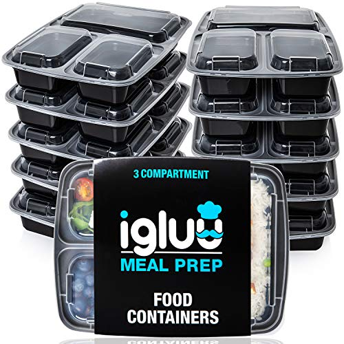 3scomparti pasto Prep contenitori per alimenti Bento Lunch Box con coperchio, utilizzabile nel...