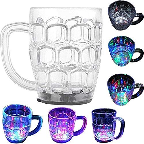 Spanking Plastic LED Flashing 7 Colours Changing Liquid Activated Mug (Clear)