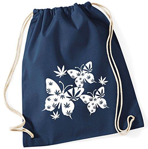Bolsa Bolsa de tela Bolsa de yute con Cordel Bolsa de algodón Bolso para deporte Bolsa de deporte Bolso de escuela Mochila Canvas Mariposa blanco (Motivo 29, marino)