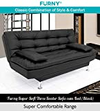 Furny Supersoft 3 Seater Leatherette Sofa Cum Bed (Black)