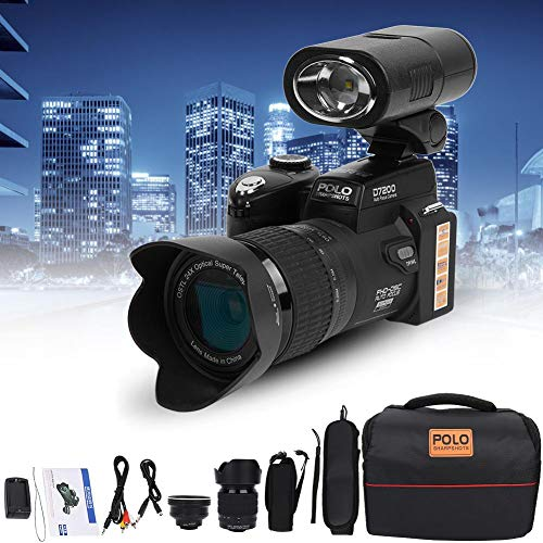 Full HD Digital Camera, D7200 33MP 3.0inch TFT LCD Display Camcorder Camera DSLR Built-In 24X Optical Zoom + 1080P HD Video + 128MB Storage with 0.5X Wide Angle Lens + 24X Telephoto Lens + LED Light