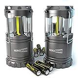 2 x HeroBeam® LED Laterne - COB Technologie mit 300 LUMEN! - AKKUS ENTHALTEN - Zusammenklappbare Campinglampe - Großartig bei Camping, im Auto, Schuppen, Dachboden, Garage & Stromausfällen (TWIN PACK)