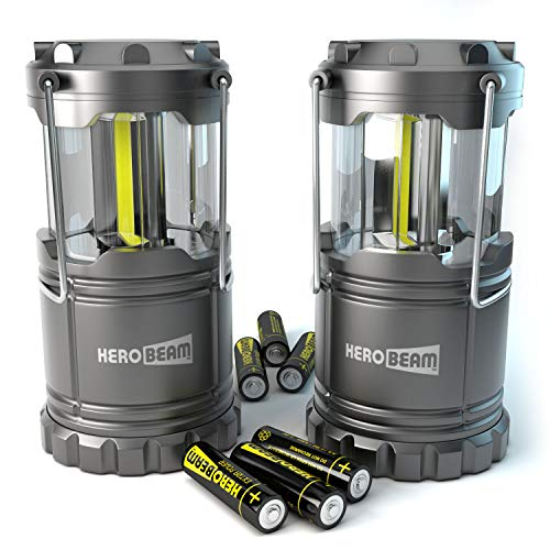 2 x HeroBeam Lanterna LED - 2019 COB La tecnologia emette 300 LUMEN! - Lampada pieghevole da campeggio - Ottima Luce per il Campeggio, il Festival, l'Auto, il Capannone, la Soffitta, il Garage e in caso di Mancanza di Corrente - CON PILE