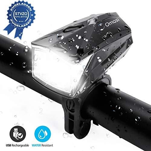 Omasi Fahrradlicht LED, StVZO Zugelassen Fahrrad Frontlicht LED,Fahrradlampe USB Wiederaufladbar Wasserdicht Fahrradleuchte 1200mAh Akku Design für Nachtfahrer,Radfahren und Camping