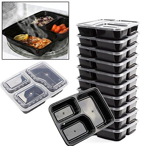10x reutilizable 3compartimentos microondas horno apilable