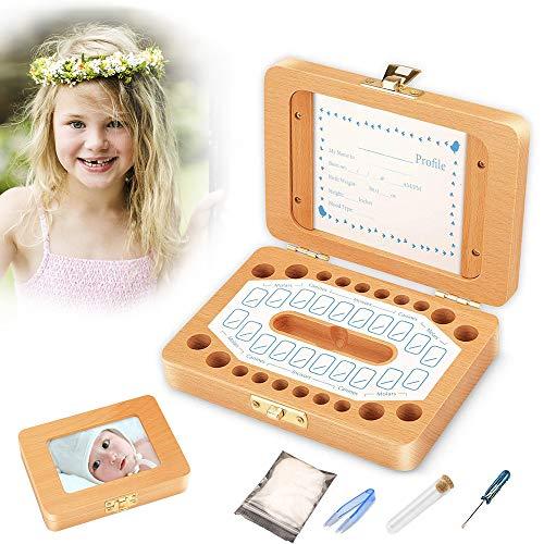 Milchzähne Zähne box, Huttoly Baby Zähne Kasten Handgemachtes Lanugo milchzahndose für Mädchen Jungen Geburtstag Geschenk Souvenir Aufbewahrungsbox(Kann Fotos, Lanugo, Milchzähne setzen)