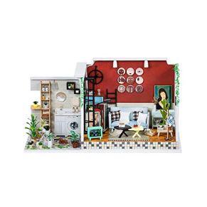 Miniatura de Dollhouse Kits de Navidad Casa de muñecas en Miniatura de la casa 3D Sala de Arte Juegos de construcción de Madera casa de muñecas Kits con Muebles for el Regalo del Día del Niño DIY Kit