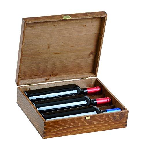 Renoir - Cassetta Vino in Betulla Verniciata per 3 Bottiglie - Ideale per Confezioni Regalo