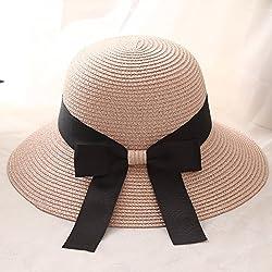 Summer Ladies Hat Bow Ribbon Beach Sun Hat Tide Outdoor Holiday Sun Hat,Bare Powder