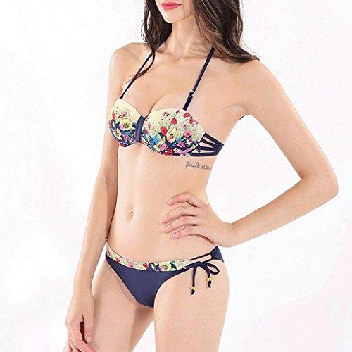 WTL Traje de baño Impresión de mariposa de perforación caliente de espalda correas reunirse traje de baño de bikini ( Color : A , Tamaño : L )