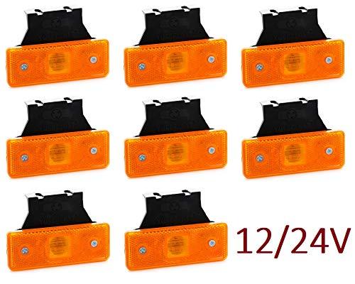 VNVIS - Set di 8 luci di posizione a LED arancione 24V 12V con supporti in gomma per telaio rimorchio camion rimorchio camion rimorchio camion