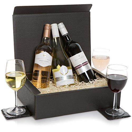 Wine Hamper - Classic Wine Selection Hamper - Trio Wine Gift - Three Wines, Red Wine, White & Rose Wines In Luxury Gift Box