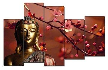 Dekoarte 113 - Cuadro moderno en lienzo de 5 piezas,  estilo zen-feng shui buda dorado con rama cerezo, 150x100cm 6
