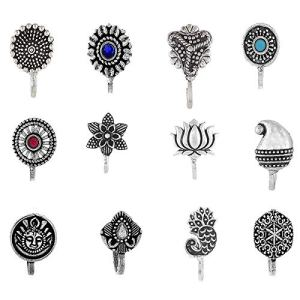 Om Jewells Indo Western Fashion Jewellery Combo of 12 Amazingly Designed Nose Pin with Oxidise Finish for Girls and Women CO1000180C 7  Om Jewells Indo Western Fashion Jewellery Combo of 12 Amazingly Designed Nose Pin with Oxidise Finish for Girls and Women CO1000180C 51GqwDgDjmL
