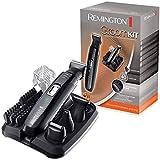 Remington PG6130 Groomkit - Kit multifunción para cortapelos corporal, cuchillas con revestimiento de titanio autoafilables, cuatro cabezales, inalámbrico, batería, negro