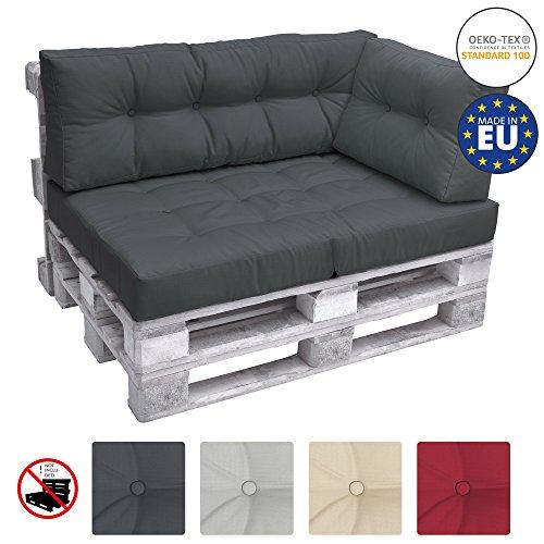 Beautissu Cuscino Laterale per Divano di Pallet Eco Elements 60x40x10-20cm - per divani con bancali di Legno - Grigio