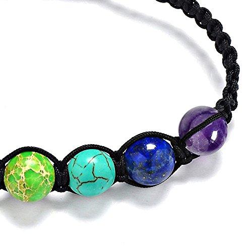 feb8ee413750 7 chakras pulsera ajustables yoga jade ágata kundalini mujer terapias  magneticas, curación energética