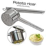 Trituradora de la patata de puré de Ricer / fruta Prensa / Alimentación Infantil colador, 2 discos intercambiables excelente anti-Rust (Acero inoxidable)