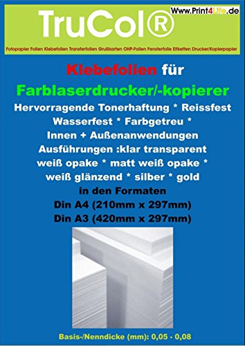 10x A3 selbstklebend glänzend KLARE transparente Polyester- Folie Klebefolie Druckerfolie zum Bedrucken, Wetterfest, Outdoor für Laserdrucker + Kopierer. Für lackierte Flache + Glatte Oberflächen