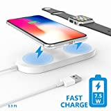 Apple Watch Wireless Charger, Belker Qi-standard 2 in 1 Apple Watch Charger to power your new iPhone and Apple Watch simultaneously, Compatible with iPhone X/8/8 Plus and Apple Watch,Samsung series