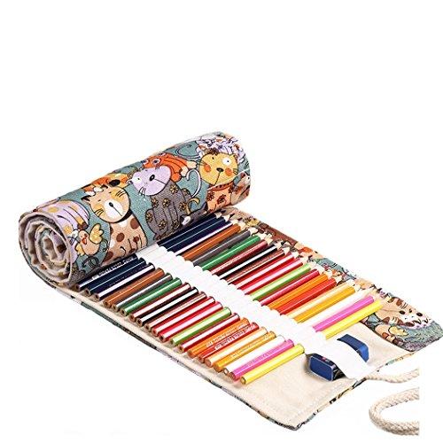 Amoyie - Portamatite arrorolabile per matite colorate sacchetto della matita, piccolo 36 holes