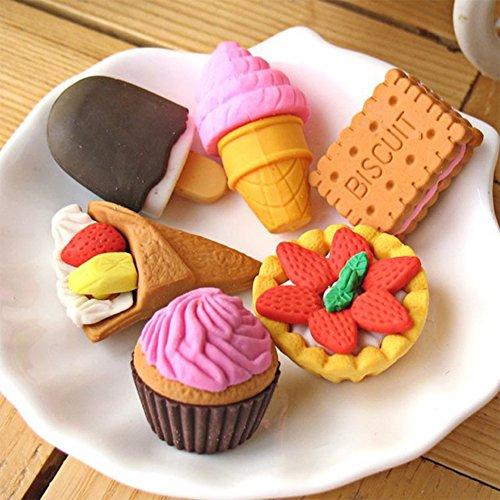 Leoie Cube Erasers Eraser for Kids 20pcs Creative Cartoon Fruit Cake Design Eraser Strong Erasing Capability Random Style Dessert