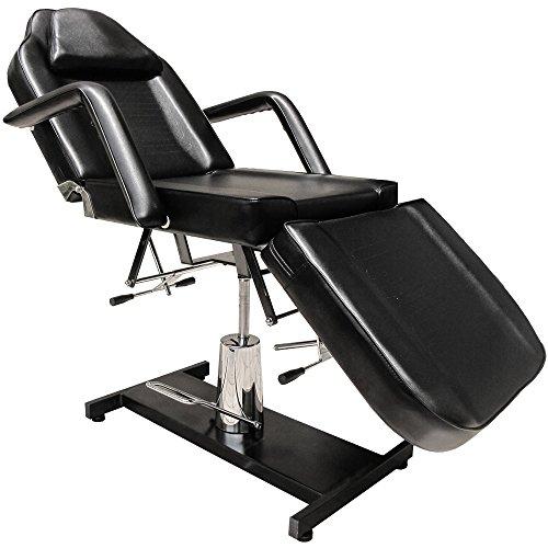 EYEPOWER Lettino Fisso per Massaggi 185cm 3 Zone con Foro Viso Ruota a 360° Nero