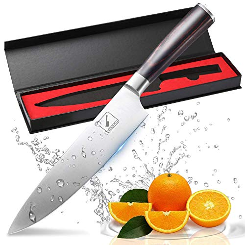 Coltello da cucina, imarku professionale 20 cm coltello da verdura, Coltello da Chef, Coltello multiuso, carbonio di alta qualità In Acciaio Inossidabile , manico ergonomico marrone