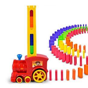 Tren eléctrico Domino de Inteligencia Infantil, Tren Eléctrico con Ajedrez de Péndulo Automático Acousto-Óptico, Dominó…