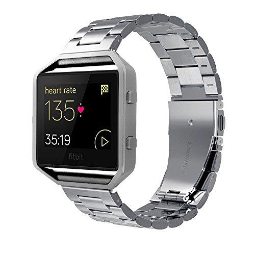 Simpeak Cinturino Compatible per Fitbit Blaze, Banda per Fitbit Blaze in Acciaio Inossidabile con Chiusura Pieghevole,Cinghia di Polso,Fibbia di Metallo per Fitbit Blaze