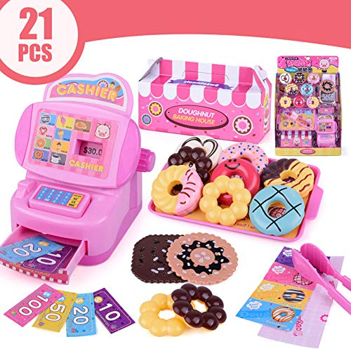 Leoie Children Kids Toddler Plastic Cash Register Toy Simulation Donut Store Model Early Education Gift