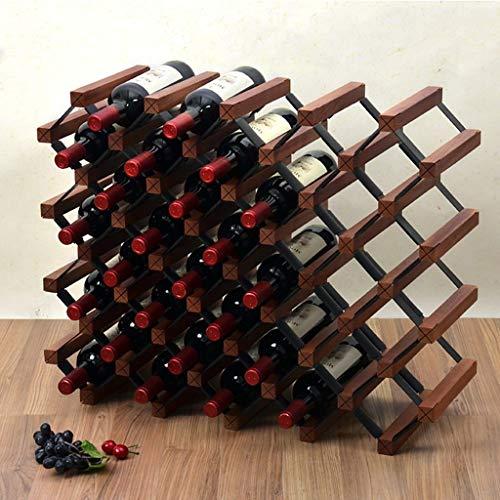 LNDDB Portabottiglie da banco in Legno Naturale da 36 Bottiglie per espositore da Bar, Cantina,...