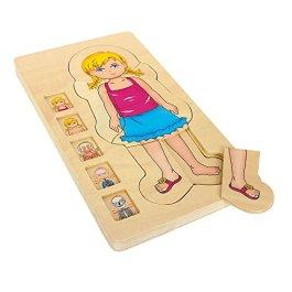 5814 Puzzle a strati Anatomia Ragazza small foot in legno, 29 pz. a cinque strati, a partire da 3 an