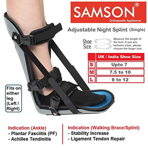 Samson Adjustable Night Splint - Light Weight, Custom Fit & Soft Foam Laminate, Relief from Planter Fasciitis, Achilles Tendonitis, Heel Spurs, Muscle Tightening, Runner's Cramp, Can be used for Either Leg (Left / Right) (For Men & Women) (Size : Small)