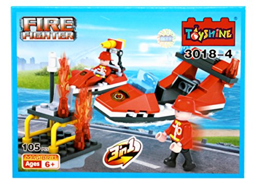 Toyshine Firefighter and Rescue Blocks Set, ABS Plastic Construction Toy, Starter Kit - (3018-4)