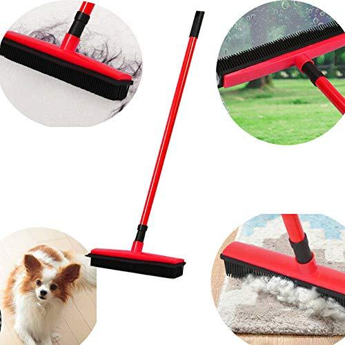 bossMA Escoba telescópica de Goma Cepillo para alfombras Barredora para Pisos y alfombras Cerdas de Silicona Quitar el Pelo del Perro de la Mascota (Red)