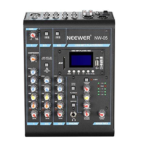 Neewer Mixer Console Stereo Compatto 5 Canali Effetti DSP Echo con LCD Display, Funzioni Incorporate Scheda SD / USB / Bluetooth / Alimentazione 48V Phantom per Registrazioni Sonore & Revisioni di Musica (NW-05)