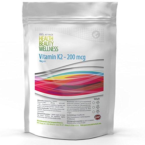 250 / 500 Tabletten (vegan) á 200µg • Vitamin K2 • natürliches MK-7 Menachinon • Für die Blutgerinnung und den Calciumspiegel • Unterstützung für die Knochen (500)
