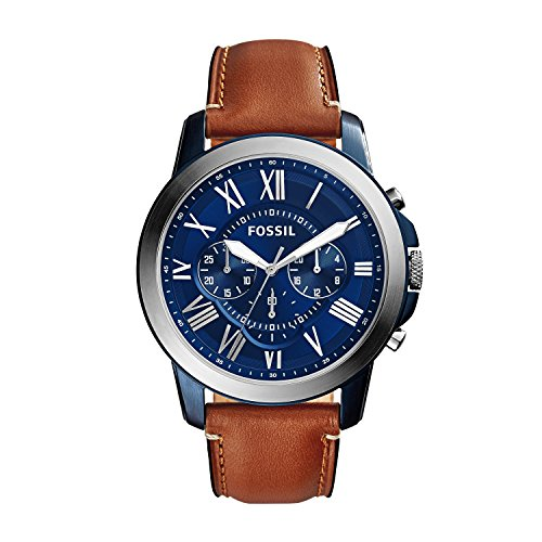 Fossil Herren Lederarmband Uhr Grant - mit blauem Ziffernblatt, silbernen römischen Ziffern & lumineszierenden Zeigern – Chronograph mit Lederband in Braun - ideal für jeden Anlass