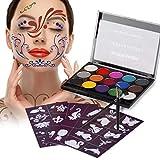 XPASSION Kit de Pintura Facial. Set de Maquillaje, Pinturas Corporales, Pintura Cara Professional Juego con 1 brocha 15 Colores para niños Fiestas Body Painting de Halloween Make Up