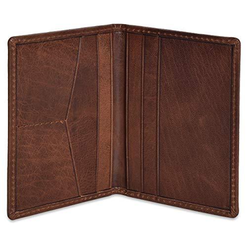 Portlee Premium Leather Bifold Wallet Debit Credit Card Holder Brown