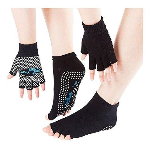 SwirlColor Yoga Pilates Dita Esercizio Guanti Grip Antiscivolo Calzini con Silicone Bianco Dots,...