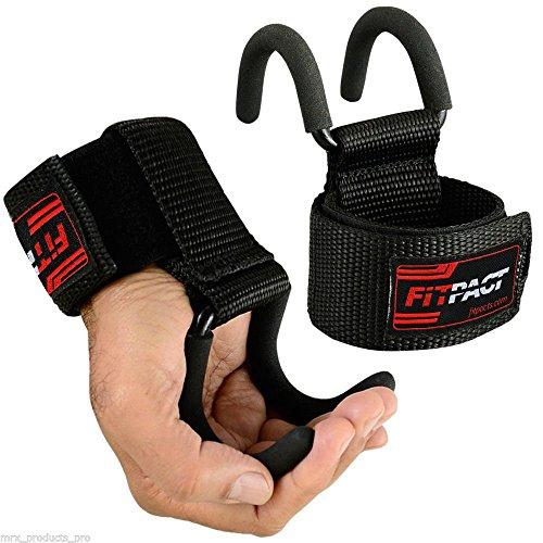 FITPACT Ganci Sollevamento Pesi Cinghie Crossfit Polsiere Bodybuilding Gancio Imbottitura Neoprene...