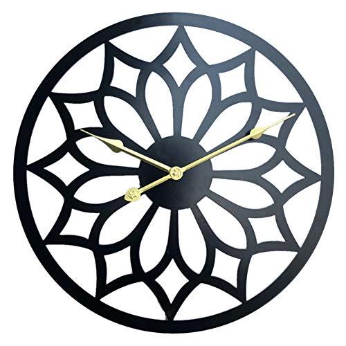ACLOCK Orologio da Parete Silenzioso in Metallo A Forma di Fiore Vuoto in Metallo in Stile Europeo per La Decorazione Domestica Nero Decorazione della Casa in Stile Mediterraneo