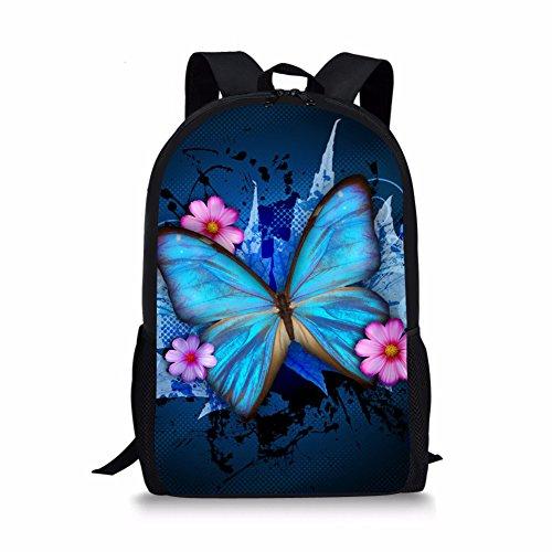 coloranimal Cute Mariposa escuela mochila para niñas niños bookbags